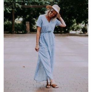 Ella Mara / Anthropologie | pinstripe maxi dress